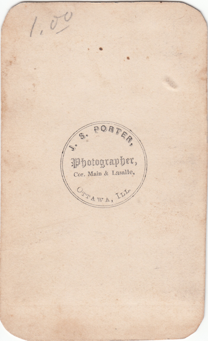 J. S. Porter, photographer of Ottawa, Illinois - back